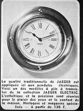 PUBLICITE JAEGER ELECTRIC PENDULE ÉLECTRIQUE A PILE A TRANSISTOR