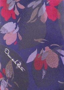 Oscar de la Renta Necktie Neck Tie Navy Red Tan Light Blue Flowers NICE COND