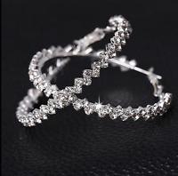 Elegant Luxury Hoop Round Dangle Earrings Jewelry Crystal Diamante Rhinestone