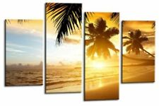 Sunset Beach Wall Art Orange Gold Green Tropical Seascape Canvas Split Picture