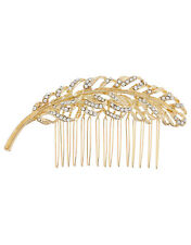 ACCESSORIZE FEATHER HAIR COMB GOLD DIAMANTE CRYSTAL GEM WEDDING BRIDAL MONSOON