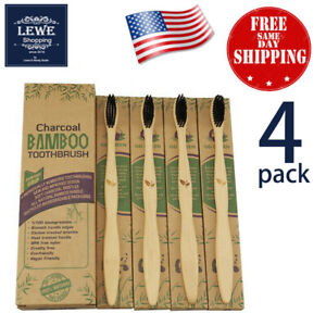 No 1 Bamboo Toothbrush 100% Natural Eco-Friendly Soft Charcoal Bristles - 4 PACK