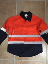 Hi Vis Kids Shirt Orange Navy Size 8-9 Long Sleeve