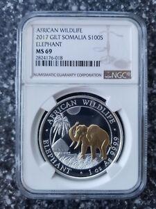 2017 Somalia 1oz Silver Elephant Gilded MS69 NGC