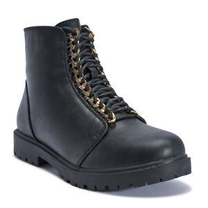 Truffle Colt20 Black Comabt Boots Flat Cleated Chain Lace Up Ankle Boot