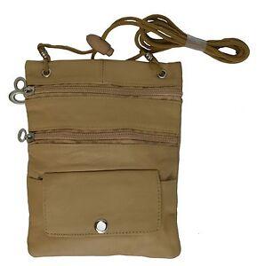 Tan Genuine Leather Travel Sling Bag Neck Strap Lanyard Passport Holder Men Lady