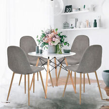 4x Retro Dining Chairs Seat Fabric Metal Leg Chair Dining Room Kitchen Furniture