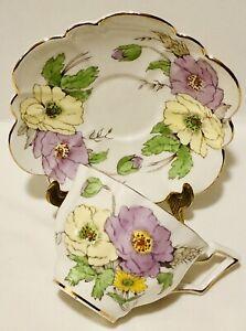 Salisbury England Cup & Saucer Corn Poppy Lavender Purple & Yellow Scalloped Tea