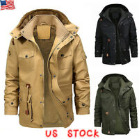 Mens Winter Thick Fur Lined Hooded Jacket Zipper Warm Casual Military Parka Coat