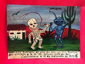 Mexican Folk Art Skeleton And Alien In Battle Funky Ex Voto Retablo