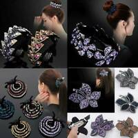 Women Crystal Rhinestone Hair Clip Claw Clamp Hairpin Bun Wrap Ponytail Holder