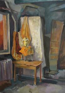 Vintage 39'' gouache painting interior scene