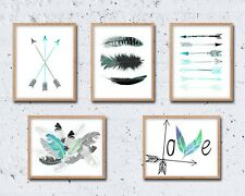 8 x 10in Set of 5 TRIBAL NORDIC arrows feathers teal mint danish wall art prints