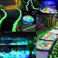 100PCS Colorful Stones Home Fish Tank Aquarium Glow in the Dark Pebbles Garden