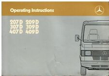 MERCEDES BENZ TN 207D 209D 307D 309D 407D 409D ORIGINAL 1985 OWNERS HANDBOOK