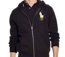NWT - POLO RALPH LAUREN Mens GOLD BIG PONY Zip Hoodie Jacket - BLACK : S - XXL