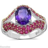 WOMENS STERLING SILVER  AMETHYST AND RUBY RING 6 7 8 9  FREE WORLDWIDE SHIPPING