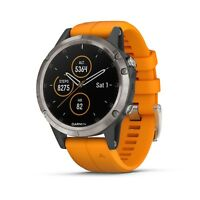 Garmin Fenix 5 Plus Sapphire Titanium with Spark Orange Band