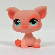Hasbro Littlest Pet Shop LPS Pig #1220 Pink Polka Dot Ears Blue Gree Eyes