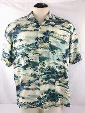 Men's TOMMY BAHAMA Shades Of Green Silk Hawaiian Shirt Size M