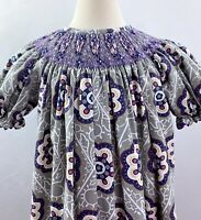 STELLYBELLY Girls Smocked Bishop Gray Purple Geometric Floral Dress Sz 5