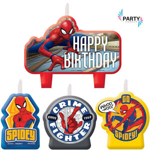 Spiderman Party Supplies CANDLE MINI MOULDED Pack Of 4 Genuine Licenseed