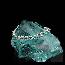 15CT Halo Created Diamond Green Emerald Tennis Bracelet 925 Sterling Silver 7mm