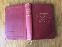 ANTICO LIBRO BAEDEKER'S HANDBOOK FOR PARIS CARTINE GEOGRAFICHE MAPPE PARIGI 1913