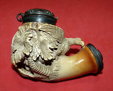 Antique Vtg Eagle's Claw Bird Holding Grapes Leafs Meerschaum Pipe