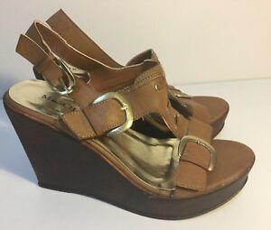 Size AU 8 / EUR 39 / UK 6 Women's Open Toe Wedge Multiple Glitz Buckles Sandals