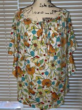 Womens Espresso Floral Key Hole Neck Bat Bell Sleeves Blouse Size XL Shirt Top
