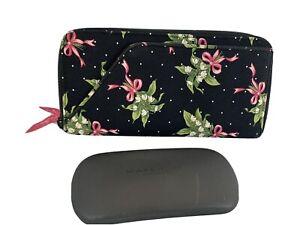 Vera Bradley NWOT New Hope Wallet Card ID Travel Portfolio Black Pink Ribbons