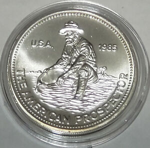 1985 The American Prospector Engelhard 1 Troy Oz. .999 Fine Silver Round Toning
