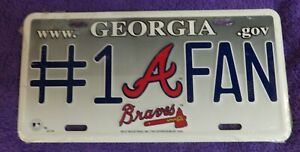 ATLANTA BRAVES  #1 FAN CAR TRUCK LICENSE PLATE MLB BASEBALL METAL SIGN