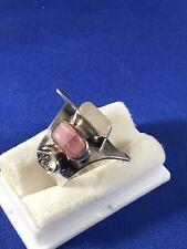 Lilly Barrack Sterling Silver Gemstones Organic Design Ring Size 8 adjustable