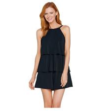 A288587 Fit 4 U Hi-Neck Double Tiered Romper Swimsuit 20 Black