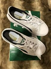 Puma Breaker Leather Men's Athletic White With Black NEW IN BOX  Gold Logo US 9