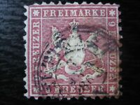 WURTTEMBERG GERMAN STATES Mi. #24 rare used stamp! CV $1,200.00