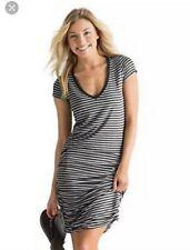 896d79d5479c7 Style  Bodycon Dress. ATHLETA Gray Striped Topanga Ruched Dress Size S