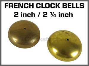 """Small Cast Brass Clock Bell French 2"""" & 2 1/4"""" Repair Chime Mantle Replacement"""