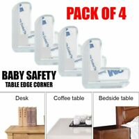4x Rubber Furniture Corner Edge Table Cushion Guard Protector Baby Safety Clear