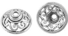 Large 15mm Antique SILVER  Scroll, Filigree Bead Caps Tibetan Style, TEN