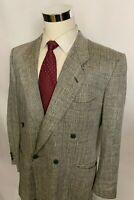 Mani Giorgio Armani Silk Glen Plaid Windowpane Double Breasted Jacket Blazer 42R