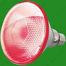 2x 80W PAR38 Color Rojo Halógeno Luz De Inundación Reflector es E27 Bombilla Lámpara