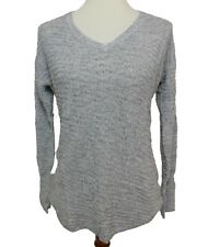 Calvin Klein Jeans Women's Small Sweater Long Sleeve Textured Knit Gray V-Neck