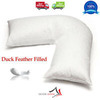 Duck Feather & Down V Shaped Pillow Only Nursing Pregnancy Back Support Pillow