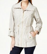 JM Collection Women's Printed Anorak Jacket, Textured Stonewall Beige, Petite PP
