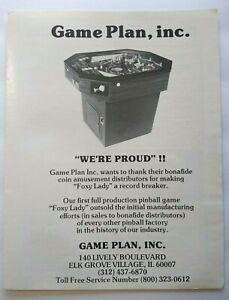 Game Plan Foxy Lady Pinball Trade AD 1978 Original Game Artwork Retro Cocktail