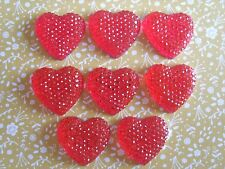10 x Red Sparkle Hearts Flatback Resin Embellishment Crafts Decoden Cabochon UK