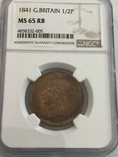 More details for 1841 g britain victoria halfpenny ngc ms65rb